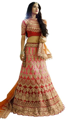 Red and Salmon Satin Lehenga Choli