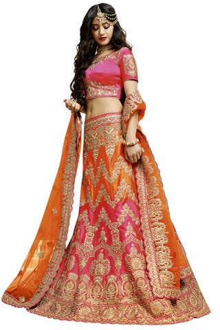 Bridal Wedding Satin Lehenga Choli