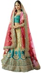 Teal and Light Green Lehenga Choli
