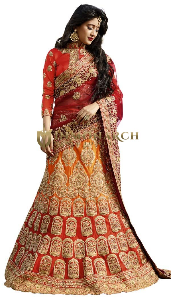 Indian Bridal Satin Lehenga Choli