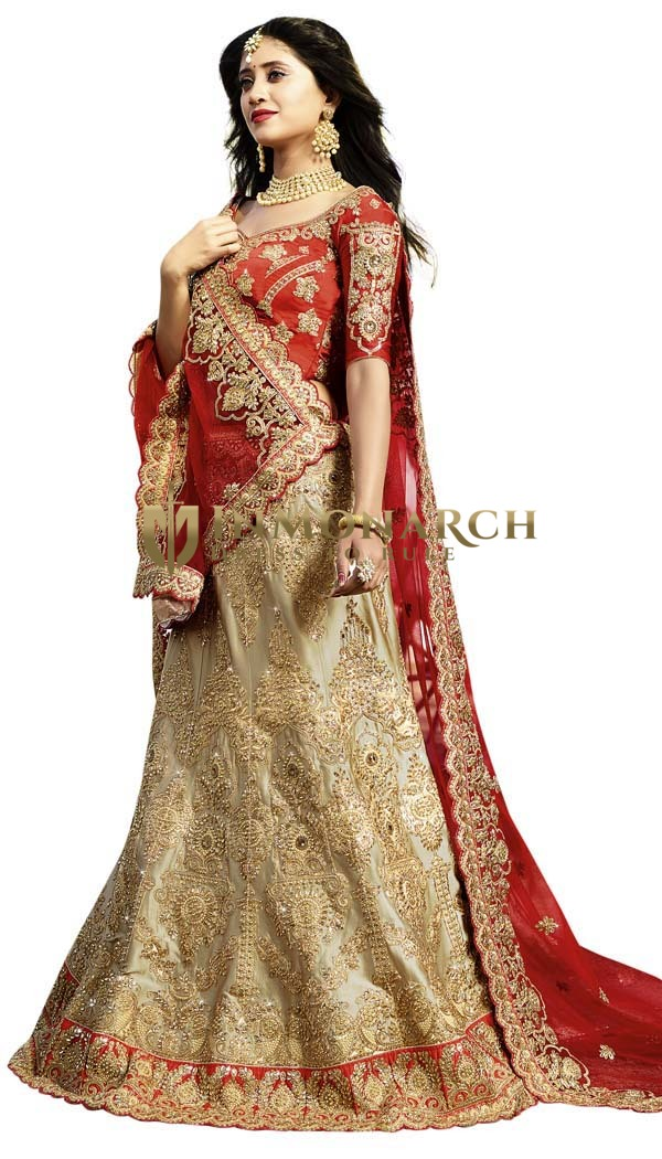 Wedding Wear Cream Lehenga Choli