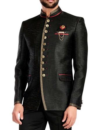 Mens Black 4 Pc Groom Tuxedo Suit 10 Button
