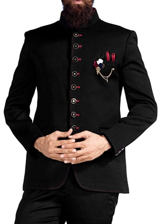 Mens Black Traditional Jodhpuri Suit 4 Pc 8 Button