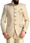 Mens Ivory Jodhpuri Suit 4 Pc 6 Button