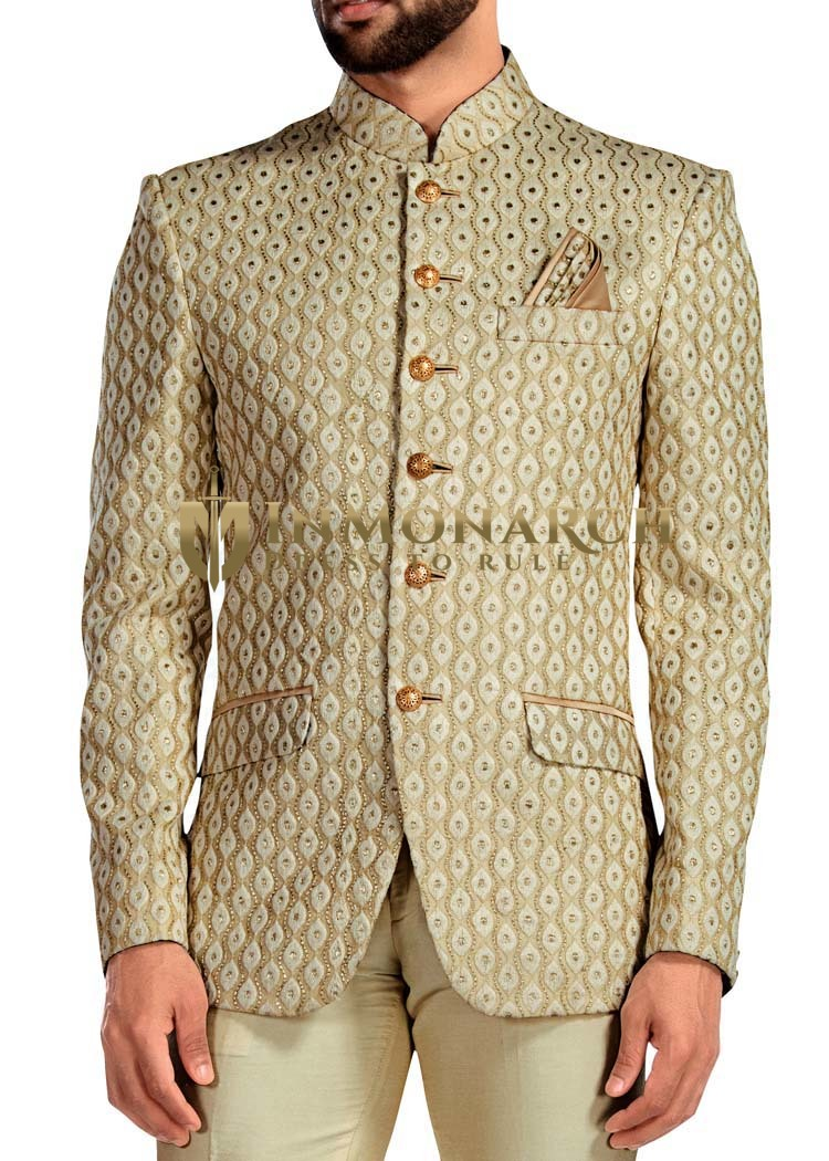 Mens Golden 3 Pc Jodhpuri Suit 6 Button