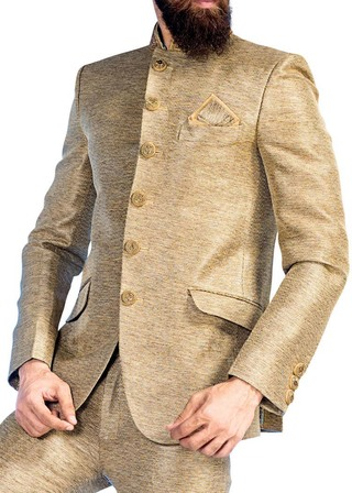 Mens Beige 3 Pc Jodhpuri Suit Groom 6 Button