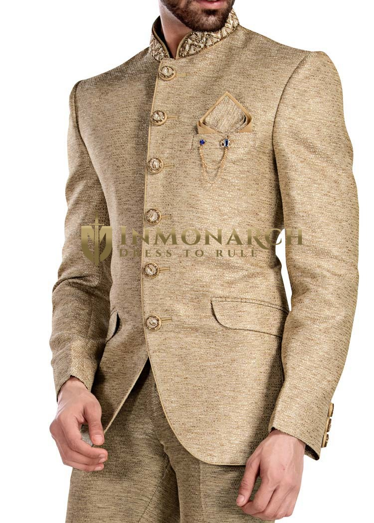 Mens Beige Embroidered Jodhpuri 4 Pc Suits