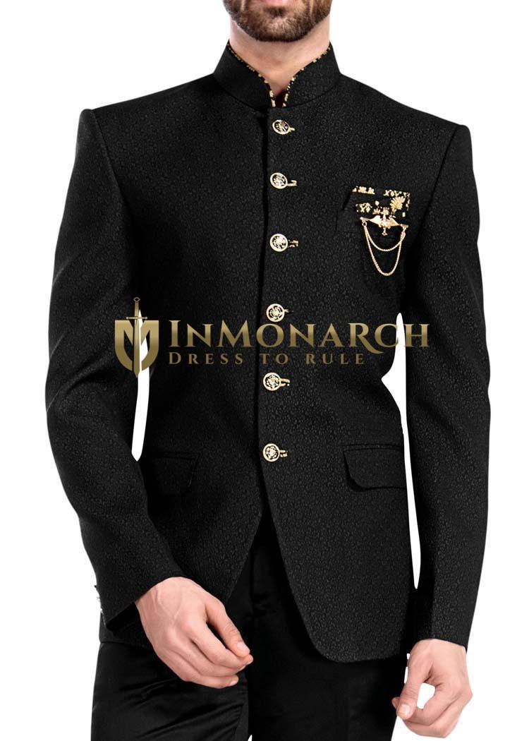 Mens Black 4 Pc Jodhpuri Suit 6 Button