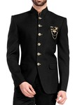 Mens Black 4 Pc Jodhpuri Suit 6 Button