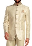 Mens Cream Jodhpuri Suit 3 Pc  Embroidered