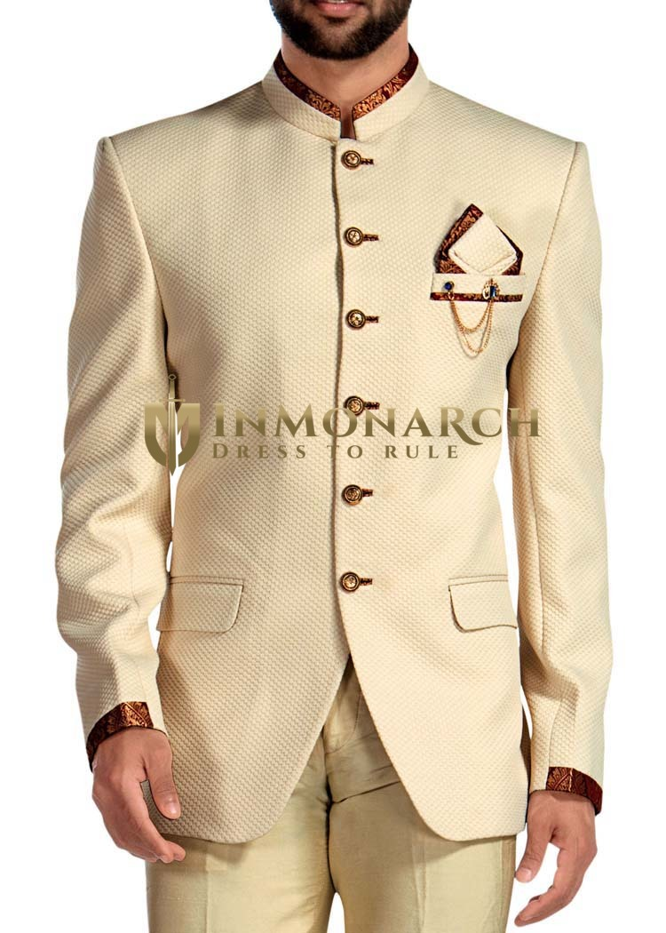 Mens Ivory Jodhpuri Suit 4 Pc Trimming Work
