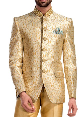 Mens Yellow 3 Pc Jodhpuri Suit Embroidered