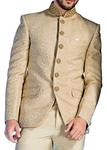 Mens Beige Jodhpuri Suit Embroidered 3 Pc