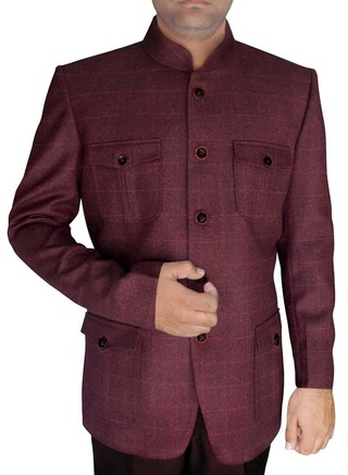 Mens Wine 2 Pc Jodhpuri Suit Safari Style