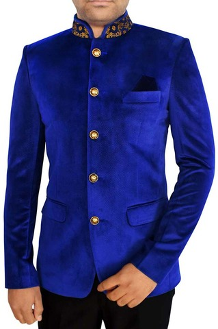 Mens Blue 3 Pc Jodhpuri Suit Latest Designer