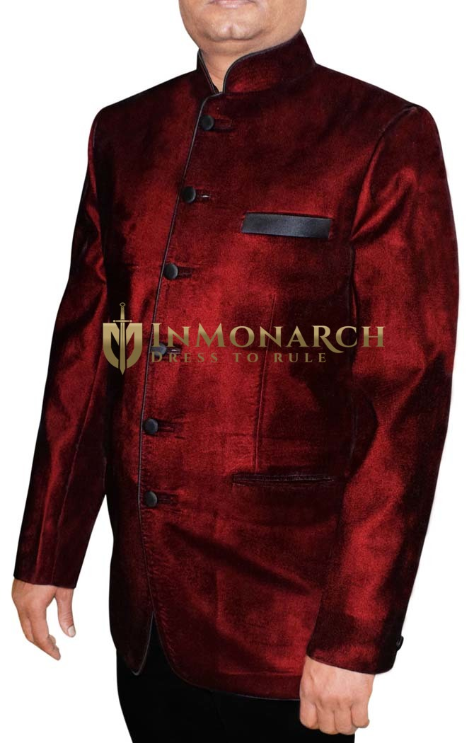 Mens Maroon 2 Pc Jodhpuri Suit 6 Button