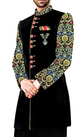 Mens Black 3 Pc Indo Western Embroidered Work