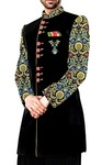 Sherwani for Men Wedding Black Indo Western Embroidered Work