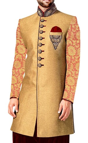 Mens Bisque Indo Western Embroidered Groom 3 Pc