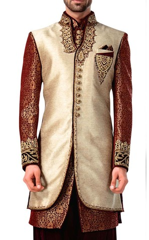 Mens Ivory 4 Pc Indowestern For Groomsmen