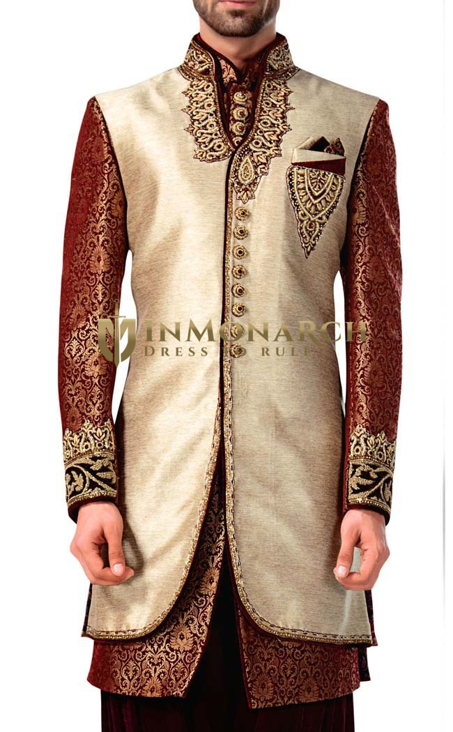 Indian Wedding for Men Sherwani Ivory Indowestern For GroomsMen Sherwani