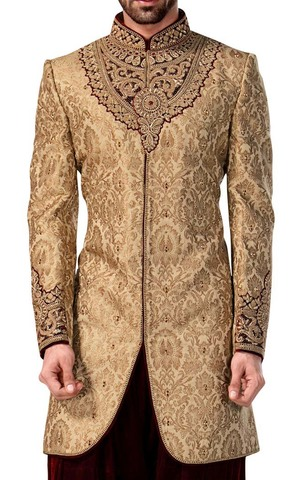 Indian Sherwani for Men Burlywood Indowestern Sherwani kurta Groom suit