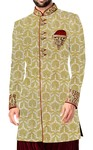 Mens Wedding Sherwani Golden Indowestern kurta for jeans