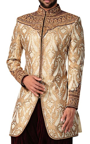 Sherwani for Men Wedding Golden Indo Western Latest Sherwani