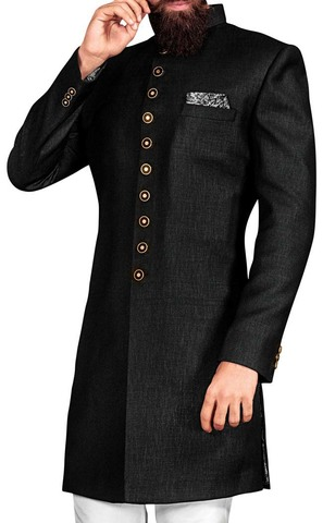 Mens Black 3 Pc Wedding Indowestern Suit
