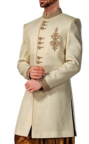 Mens Cream 2 Pc Indowestern For Bridegroom