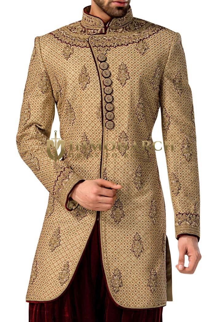 Indian Wedding for Men Bisque Indo Western Sherwani Embroidered Work