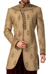 Mens Bisque 2 Pc Indo Western Embroidered Work