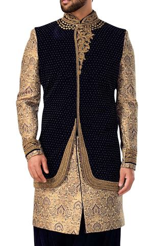Sherwani Navy Blue and Peach Indowestern Suit Indian Wedding Clothes for Men