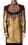Mens Golden and Maroon 2 Pc Indowestern Designer