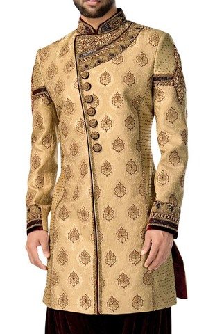 Mens Bisque 2 Pc Indowestern Bollywood