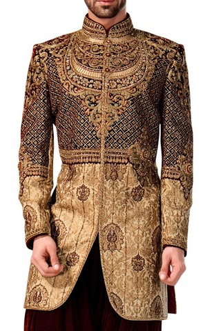 Mens Wedding Sherwani Golden Indowestern Indian Wedding Sherwani