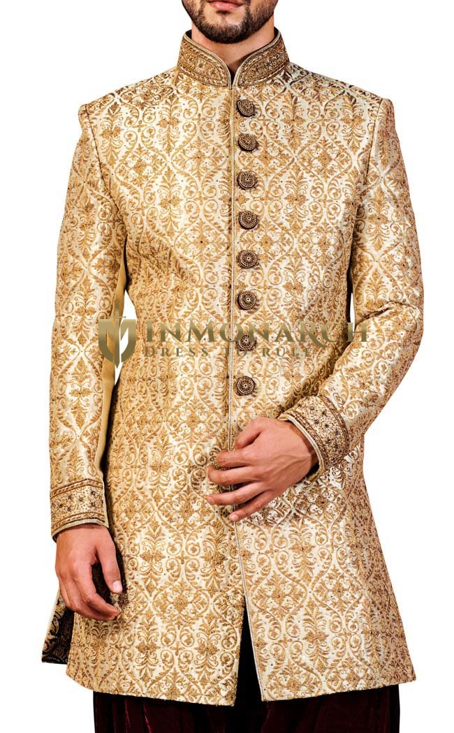 Indian Sherwani for Men Peach Indowestern Ethnic Designer Sherwani Kurta