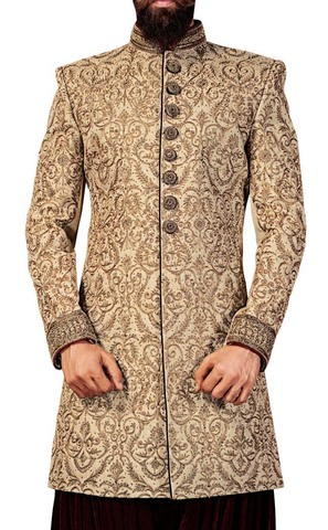 Mens Beige Wedding Sherwani Indowestern Grooms Suit Indian Sherwani for Men