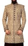 Mens Beige 2 Pc Indowestern Grooms Suit