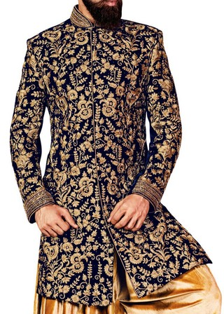 Wedding Sherwani Navy Blue Indowestern Suit Bollywood Indian Sherwani for Men