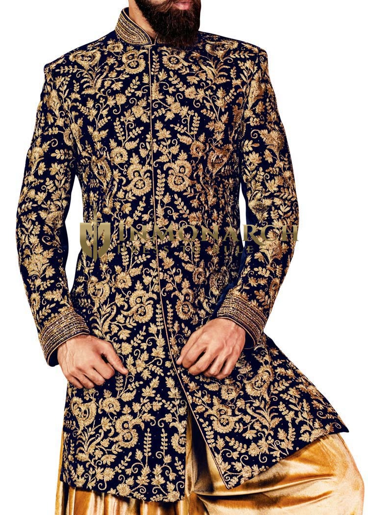 Mens Navy Blue 2 Pc Indowestern Suit Bollywood