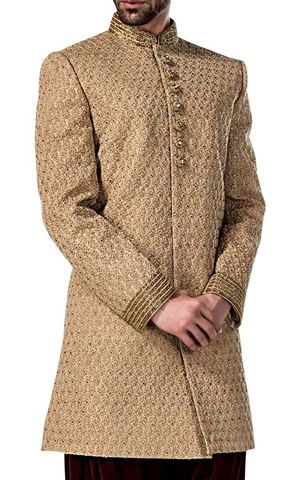 Mens Beige 2 Pc Indowestern Wedding Suit