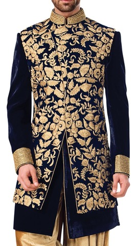 Mens Navy Blue Velvet Indowestern 3 Pc Suit