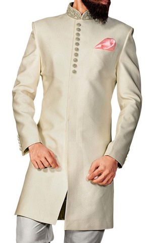 Mens Cream 3 Pc Indowestern Party Wear
