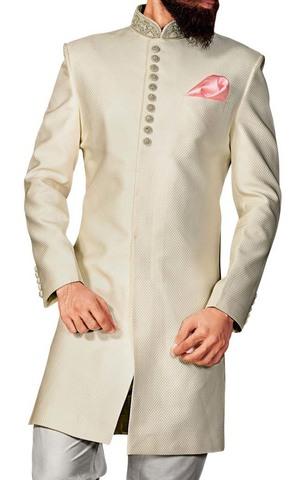 Sherwani for Men Cream Indowestern Party Wear Indian Wedding Clothes