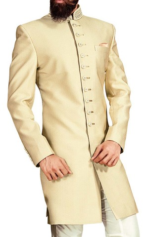 Mens Light Yellow 3 Pc Indowestern Sherwani