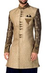 Mens Beige Sherwani Indo Western Embrodered Indian Wedding for Men