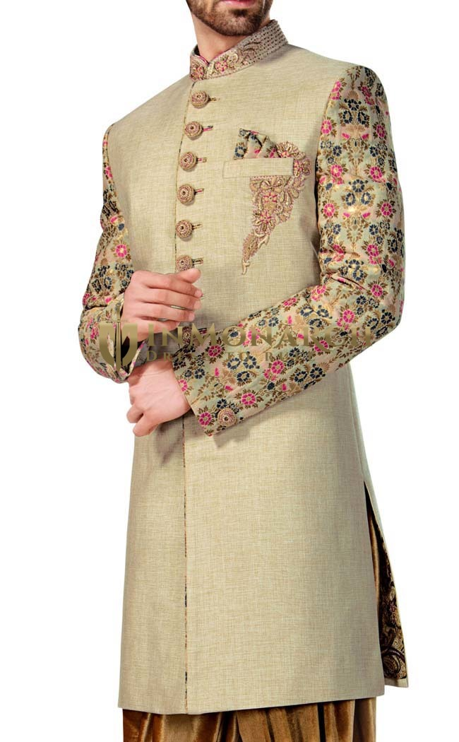Mens Light Green Indowestern Designer 3 Pc