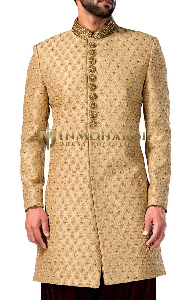 Mens Beige 2 Pc Indowestern Bollywood