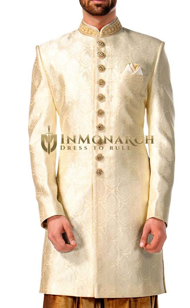 Mens Ivory 3 Pc Indowestern Sherwani
